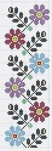 Cross Stitch Bookmarks, Cross Stitch Borders, Modern Cross Stitch Patterns, Cross Stitch Designs, Knitting Stitches, Embroidery Stitches, Embroidery Patterns, Norwegian Knitting, Learning To Embroider