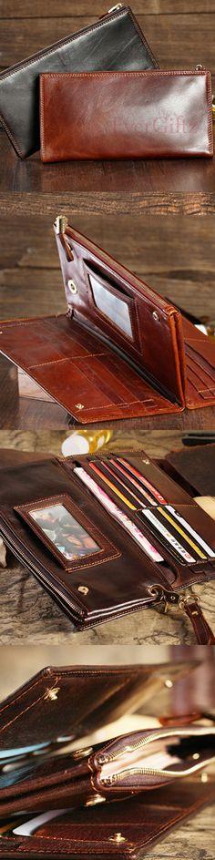 Handmade leather vintage men long wallet clutch phone purse wallet