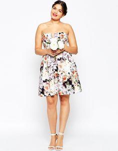 Image 4 ofASOS CURVE WEDDING Notch Bandeau Floral Mini Dress