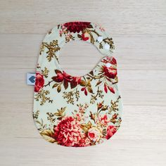 Floral Savannah fabric made into our bandana bib, available in www.mylittleloveheart.com.au