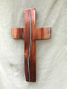 """Cherry wood Cross with Turquoise Inlay 20"""" high x 10"""" wide by BlackFacedSheep on Etsy"""