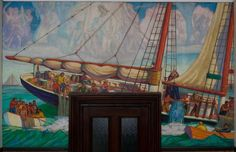 Gloucester City Hall WPA Murals  Protection of Fisheries after
