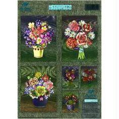 Carte 3D prédécoupée métallisée - Bouquets de fleurs 21 x 29,7 cm