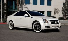 """Asanti Wheels, the leader in custom luxury wheels.  White Cadillac CTS with black and white 22"""" Monoblock Slates"""