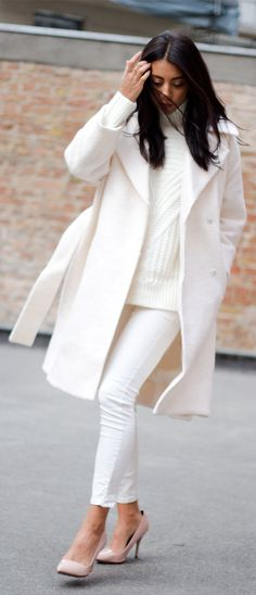 ALL winter white .Belted Coat Trend: Kayla Seah is wearing all white, the belted coat is from ASOS