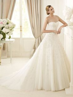 Tulle Illusion Jewel Neckline A-line Beads And Sequins Wedding Dress at Millybridal.com