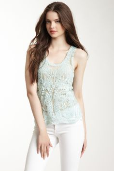 Embroidered Mesh Tank in Pale Mint