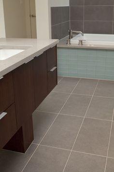 Master Bath Walls In Large Format Ceramic Series Periwinkle Custom - Custom cut ceramic tile