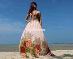 Peach Maxi Dress Prom Wedding Pink Bridesmaid Dress by myuniverse