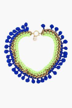 DIY inspiration: neon pom-pom chain necklace