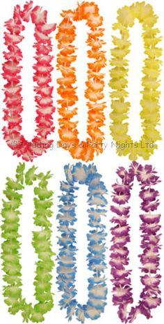 12-Assorted-Lei-Flower-Necklace-Garlands-Hawaiian-Luau-Party-Fancy-Dress