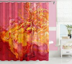 Contemporary shower curtain, abstract art bathroom decor, red, golden yellow and hot pink curtain, bathroom art, Sunrise