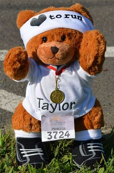 "Our 15"" handmade jointed Personalized Running Ready to Race Bear is the perfect gift to celebrate a huge race."