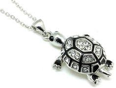 Silver Clear Crystal Black Enamel Sea Turtle Necklace Pendant 16 inch USA Seller #Pendant