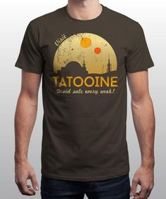 """""""Visit Tatooine"""" is today's £8/€10/$12 tee for 24 hours only on www.Qwertee.com Pin this for a chance to win a FREE TEE this weekend. Follow us on pinterest.com/qwertee for a second! Thanks:)"""