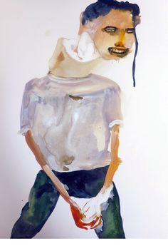 """works on paper - Maja Ruznic  """"And She Chopped Off His Strength"""" mixed media on paper 15""""x11"""" 2012  Image 79 of 80"""