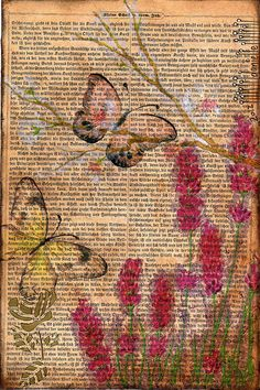 A postcard by Danielle Maret. The effects look gorgeous. Book Page Art, Book Pages, Book Art, Altered Books Pages, Art Journal Pages, Art Journals, Decoupage, Bible Art, Art Journal Inspiration