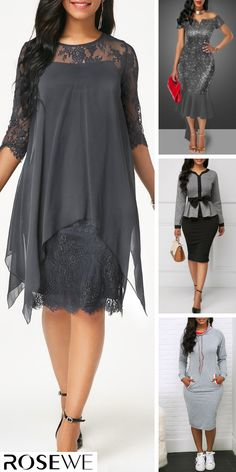 Shop Now - Three Quarter Sleeve Round Neck Lace Dress The simple and stylish style is a classic that Modest Dresses, Simple Dresses, Plus Size Dresses, Cute Dresses, Beautiful Dresses, Casual Dresses, Grey Dresses, Latest Fashion For Women, Womens Fashion