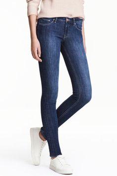 Super Skinny Low Jeans - Ciemnoniebieski denim/Sprany - ONA | H&M PL 1