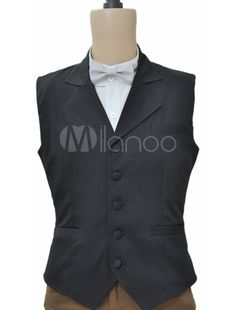 Classic Black Single Breasted Victorian Waistcoat (Order Tailored fit)