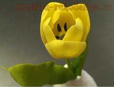 Master class on clay floral design: Yellow Tulip mastera-rukodeliya.ru/