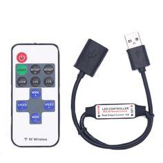 DC5-24V 11 Keys Mini USB RF Wireless Dimmer Remote Control LED Controller for Single Color Strip