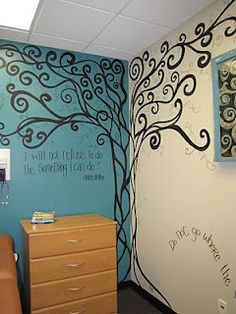 tree wall mural - I like this. Maybe add family tree type names here and there, with small framed photos.