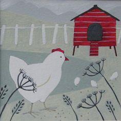 Hen PictureWall ArtWatercolour Painting Chicken by BusyBlackbird, £15.00