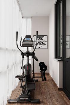 Diy Home Gym, Gym Room At Home, Home Gym Decor, Gym Interior, Apartment Interior, Apartment Design, Small Home Gyms, Garage Guest House, Hotel Lobby Design