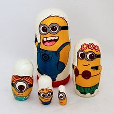 """Russian Cartoon Nesting Doll Minions 5-pc made from linden wood. Featuring different well known cartoon characters. They are painted by a professional decorative artist in Russia. Would make a great little gift or as an addition to your collection. 5 pc, height 4.25"""" Hand made in... more details available at https://perfect-gifts.bestselleroutlets.com/gifts-for-holidays/toys-games/product-review-for-russian-nesting-doll-minions-5-pc-4-25/"""