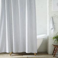 Ticking Stripe Shower Curtain | West Elm