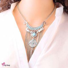 Esse realmente é pra chegar arrasando! 💁🙀 Garanta o seu em: www.ivyshop.com.br  #colar #colares #bijuteria #acessórios #ecommerce #moda #estilo #tendência #franjas #boho #bohemian #hippiechic #turquesa #moedas #look