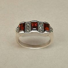 Antique ART DECO Garnet Ring STERLING Silver Bohemian Garnets Marcasite Cathedral Setting 6.5 or 6-1/2 c.1920s
