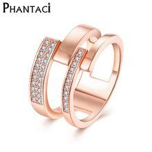 2017 Fashion Summer Jewelry Punk Ring Rose Gold Plated Austrian Zircon Women Geometric Wedding Rings Jewelry CZR222(China (Mainland))