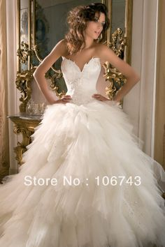 free shipping new 2014 style hot sale romantic Sexy bride weddings sweetheart Custom tiered beaded bridal gown wedding dress $176.00