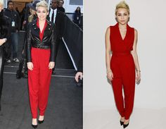 """Nestes últimos dias, está rolando a Semana de Moda de Nova York. E, fashionista como é, claro que Miley Cyrus não deixaria de aparecer para ver algum desfile, né? Para assistir ao desfile da grife Rachel Zoe, Miley ficou elegante com macacão vermelho de decote em """"v"""" e cintura marcada. Antes de entrar, Miley combinou a peça com uma jaqueta de couro preta, também acinturada… Qual look de Miley Cyrus em NY é seu preferido? - Radar Fashion - CAPRICHO"""