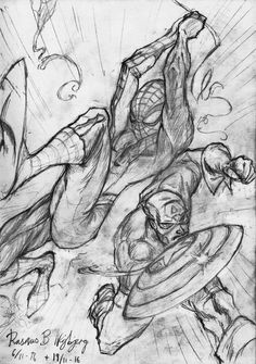 Rasmus B Najbjerg. Pencil. Spiderman and Captain America in action! After a drawing by J Scott Campbell.