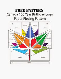 new Canada 150 year logo ,a paper piecing pattern Free Paper Piecing Patterns, Quilt Block Patterns, Quilt Blocks, Pattern Paper, Quilting Tutorials, Quilting Designs, Quilting Tips, Canadian Quilts, Quilts Canada