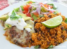 Mexican Burgers with Rice and Salad  low fat and delicious