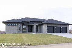 Plan Frank Lloyd Wright Inspiration, - Back Modern Bungalow Exterior, Craftsman Home Exterior, Modern Bungalow House, Bungalow House Plans, Craftsman House Plans, Exterior House Colors, House Floor Plans, Modern Home Exteriors, Contemporary House Plans