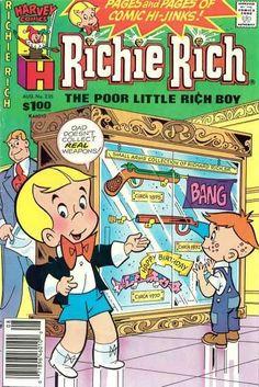 'Guns For Christmas,' Li'l Bruce Wayne Old Comics, Vintage Comics, Vintage Posters, Richie Rich Comics, Old Comic Books, Rich Boy, Comic Panels, Classic Cartoons, American Comics