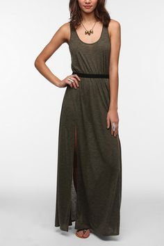 Silence & Noise Knit Double-Slit Front Maxi Dress