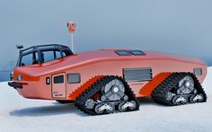 Polar Snow Crawler PSC-001   It might not look like it, but this futuristic-looking giant was actually inspired by the one-of-a-kind Antarctic Snow Cruiser which was constructed way back in the 1930s. The original vehicle was designed by arctic explorer Thomas Poulter and used in an antarctic expedition commanded by Rear Admiral Richard Byrd, Jr. It proved to be a massive failure, primarily because its slick tires were almost completely useless on the slippery snow and ice.