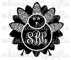Digital File - Chevron Turkey For Monogram with SVG, DXF, PNG Commercial & Personal Use