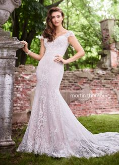 Martin Thornburg 119269 Martha, lace fit and flare wedding dress with sequin and metallic lace appliques, lace illusion cap sleeves and a v-neckline. Bridesmaid Dresses Online, Pink Wedding Dresses, Bridal Dresses, Wedding Gowns, Bridesmaid Ideas, Bridesmaid Hair, Wedding Bells, Dresser, Bridal Reflections