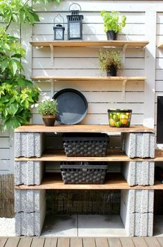 Side of the house Backyard Projects, Outdoor Projects, Garden Projects, Diy Outdoor Kitchen, Diy Patio, Cinder Block Furniture, Cinder Block Garden, Cinder Block Ideas, Cinder Blocks