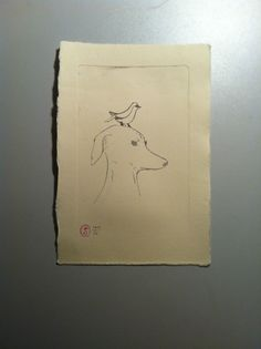 Whippet with bird - etching