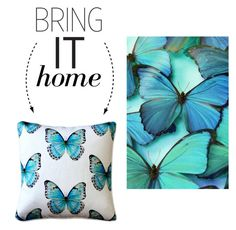 """Bring It Home: Butterfly Pillow"" by polyvore-editorial ❤ liked on Polyvore featuring interior, interiors, interior design, home, home decor, interior decorating, Pillow Decor and bringithome"