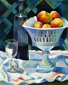 'nature morte avec bol des fruits', huile sur toile de Andre Lhote (1885-1962, France)