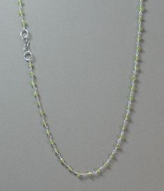 "17"" GREEN FACETED PERIDOT NECKLACE SILVER FINISHED BRASS w/S-CLOSURE #LindasCabsJewelryGemstones #Choker"